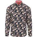 gabicci vintage mens retro geometric flower print long sleeve shirt navy