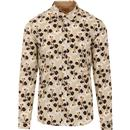 gabicci vintage mens retro geometric flower print long sleeve shirt oat