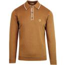Gabicci lineker tipped long sleeve knitted polo toffee