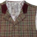 GIBSON LONDON Mod Cord Collar Check Waistcoat SAGE