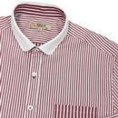GIBSON LONDON Mod Penny Collar Stripe Shirt BERRY
