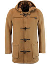 gloverall retro mid length check duffle coat tan
