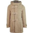 Gloverall Portland Monty Made in England Retro Textured Wool Duffle Coat in Camel