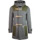 Gloverall Yarmouth Monty Made in England Retro Wax Panel Duffle Coat in Grey