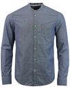 WRANGLER Grandad Collar Retro Mod Oxford Shirt