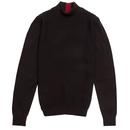 guide london mens basket weave knit front panel turtle neck jumper black