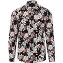 guide london mens retro 1960s floral bird print long sleeve shirt black