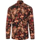 guide london mens retro mod bold floral painting print long sleeve shirt black burgundy