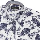 GUIDE LONDON Retro S/S Seersucker Leaf Print Shirt