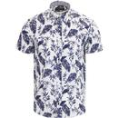 guide london mens botanical print short sleeve textured seersucker shirt white navy