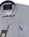 GUIDE LONDON Retro 60s Mod Circle Dot Shirt WHITE