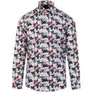 guide london mens fish print mod long sleeve shirt white multicoloured