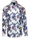 guide london retro 60s mod floral bird print shirt
