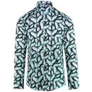 Guide London Men's Retro Mod Butterfly Print Shirt in Blue