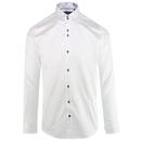 Guide London Men's Retro 1960s Mod Micro Dash Shirt in White