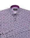 GUIDE LONDON 1960s Mod Floral Paisley Shirt PLUM
