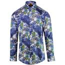 Guide London 1960s Mod Peacock Print Shirt in Blue
