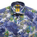 GUIDE LONDON Men's Retro Mod Peacock Print Shirt