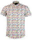 GUIDE LONDON 60s Mod Retro Telephone Print Shirt