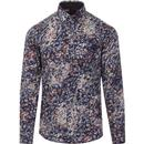 guide london mens marble print long sleeve cotton shirt navy