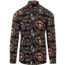 guide london mens retro oriental inspired dragon floral print long sleeve shirt black