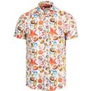 guide london mens retro mod seashell print short sleeve shirt white
