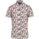 guide london mens printed short sleeve shirt white multi colour