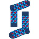 Happy Socks Optic Square Retro Socks in Blue