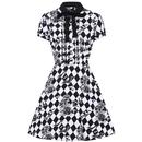 Hell Bunny Hauntley Retro 50s Halloween Harlequin Floral Mini Dress in Black/White
