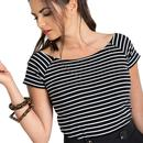 Verity HELL BUNNY Womens Mod 60s Striped Top