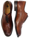 Heyford HUDSON 60s Mod Wingtip Brogue Shoes COGNAC