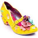Irregular Choice Amare Women's Retro Love Heart Floral Heels in Gold