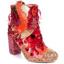 Irregular Choice Arise Phoenix Glitter Heel Boots in Red/Gold