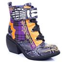 Irregular Choice Quick Run Halloween Tartan Cobweb Boots