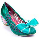 Irregular Choice Liefde Women's Retro Love Heart Heels in Green