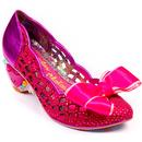 Irregular Choice Liefde Pink Women's Retro Love Heart Vintage Heels