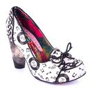 Irregular Choice Rocko 1950s Vintage Vinyl Records Rock N Roll Heels in White