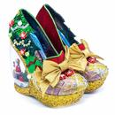 Irregular Choice Santa's Snow Globe Heel Shoes Gold