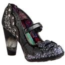 irregular choice shoependous glitter bow heels patent black