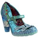 irregular choice shoependous glitter bow heels patent blue