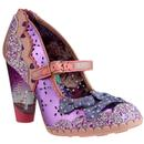 irregular choice shoependous glitter bow heels patent pink