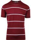 john smedley barlby knitted stripe tshirt burgundy