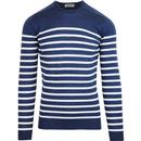 john smedley knitted bretton stripe pullover jakob indigo