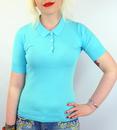 JOHN SMEDLEY WOMENS PICNIC MOD POLO CAPRI BLUE