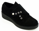 LACEYS WOMENS CREEPERS RETRO MOD 50s SHOES BLACK