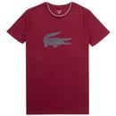 LACOSTE Retro Tipped Crew Neck Loungewear Tee red