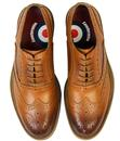 Jack LAMBRETTA Retro Mod Gibson Brogue Shoes TAN