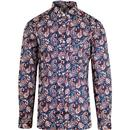 lambretta all over print paisley shirt navy/orange/white