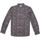 lambretta paisley print button down shirt navy