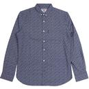 lambretta paisley print button down shirt navy/white